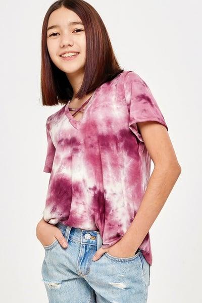Grape  Purple Tie Dye Criss Cross Top