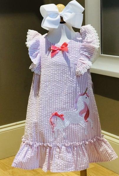 Pink Seersucker Unicorn Dress