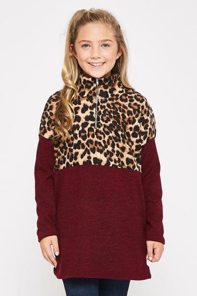 Leopard/Burgundy Color Block Pullover