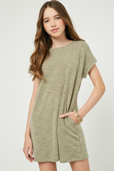 Hayden Olive Roll Sleeve Dress