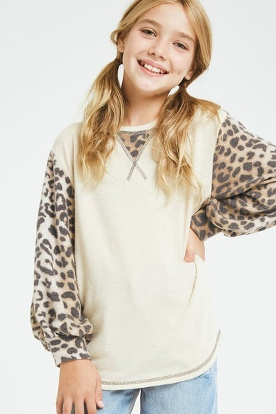Leopard/Taupe Balloon Sleeve Sweater