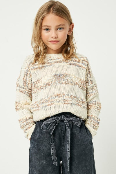 Ivory Popcorn Stripe Sweater