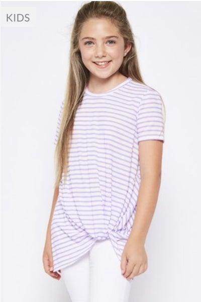 Lavender Stripe Side Twist Top