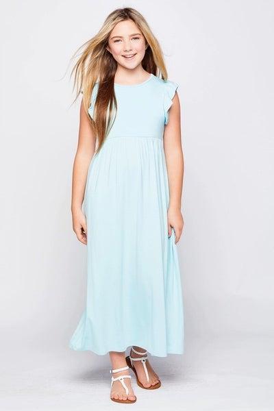 Light Blue Ruffle Maxi Dress