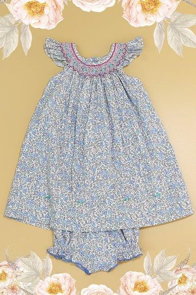 Blue Floral Smocked Angel Wing Dress