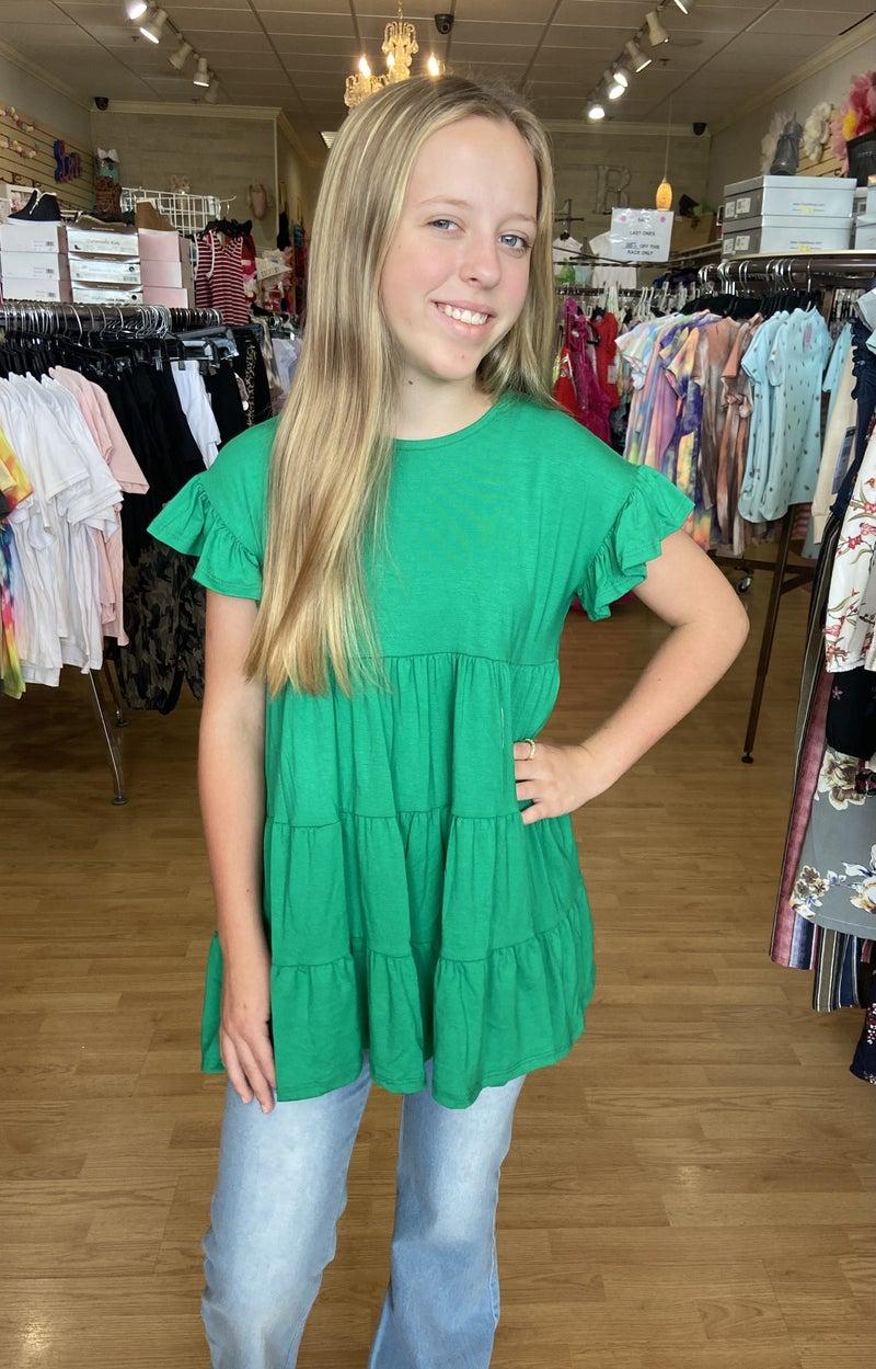Tween Green Baby Doll Tunic Top