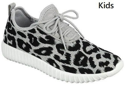 Girls Silver Leopard Sneakers