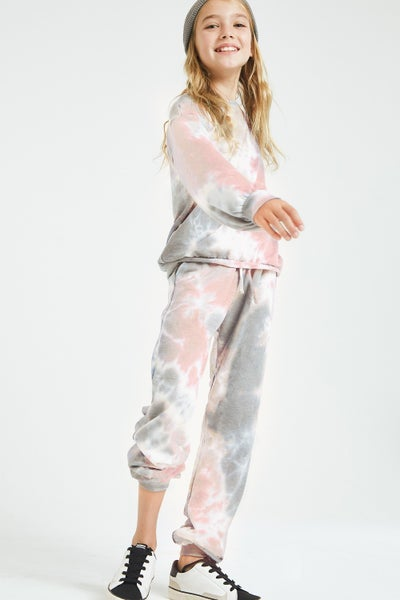 Pink & Grey Tie Dye Joggers