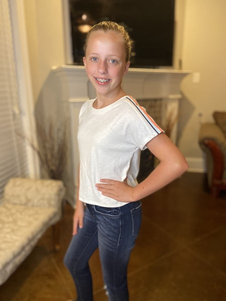 White Cropped Top with Stripes