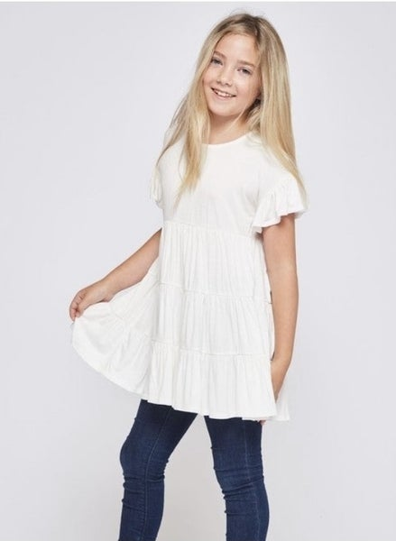 Tween Off White Baby Doll Tunic Top