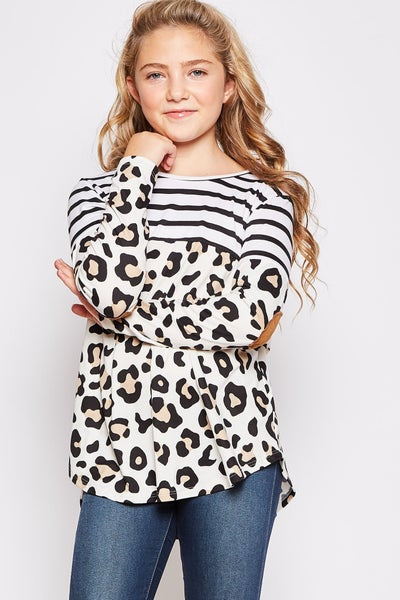 Cheetah White Stripe Top with Elbow Patch
