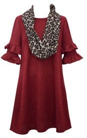 Burgundy Ruffle Sleeve Dress with Scarf