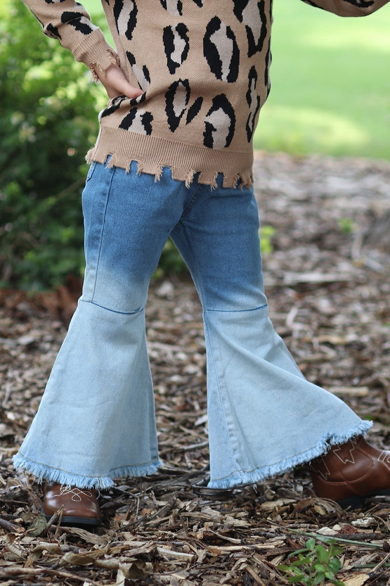 Girls Two-Toned Bell Bottom Jeans