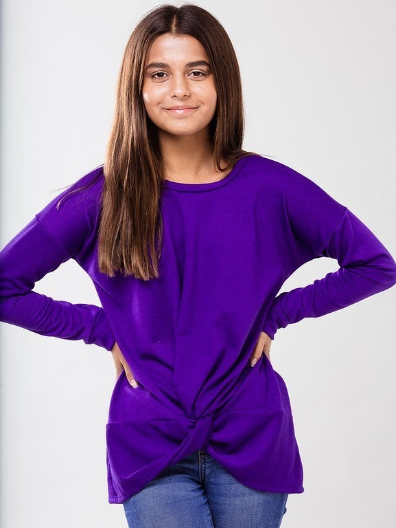 Purple Front Knot Top