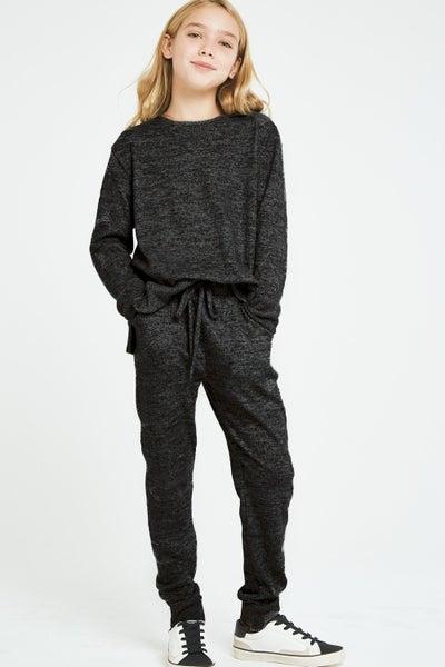 Black Brushed Knit Jogger Pants