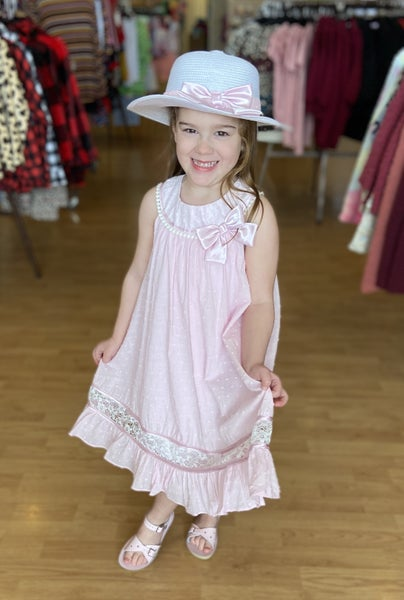 Pink Clip Dot Dress with Hat