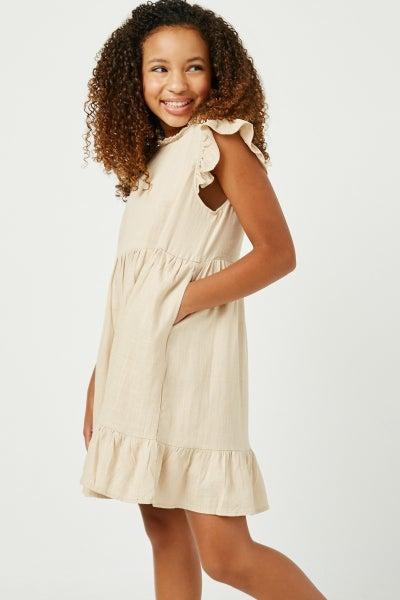 Hayden Oatmeal Linen Ruffle Sleeve Dress