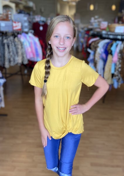 Mustard Short Sleeve Side Twist Top