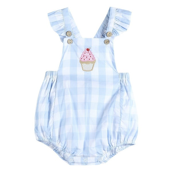 Blue Check Cupcake Romper