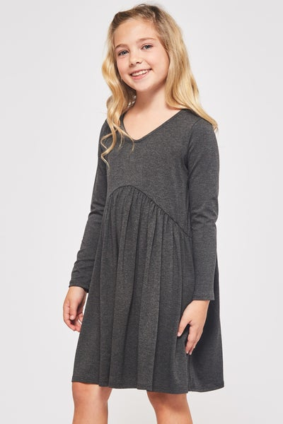 Charcoal Grey Baby Doll Dress
