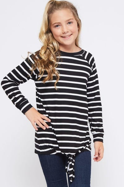 Black/White Stripe Front Tie Top