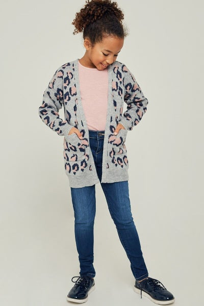Grey Leopard Sweater Cardigan