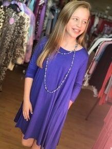 Tween Purple A Line Dress with Pockets
