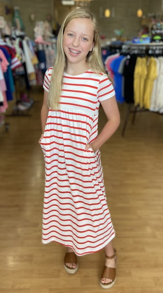 Red/White Stripe Maxi with Pockets