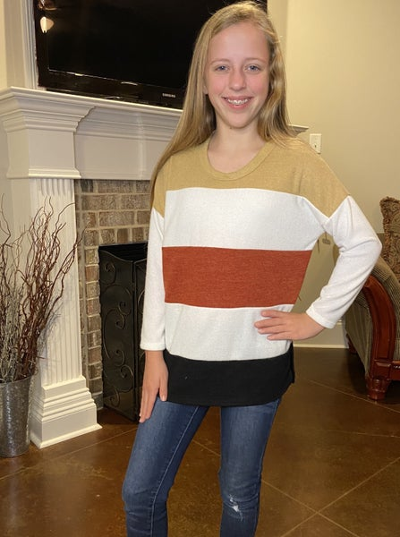 Mustard, Ivory, Rust, Black Stripe Top
