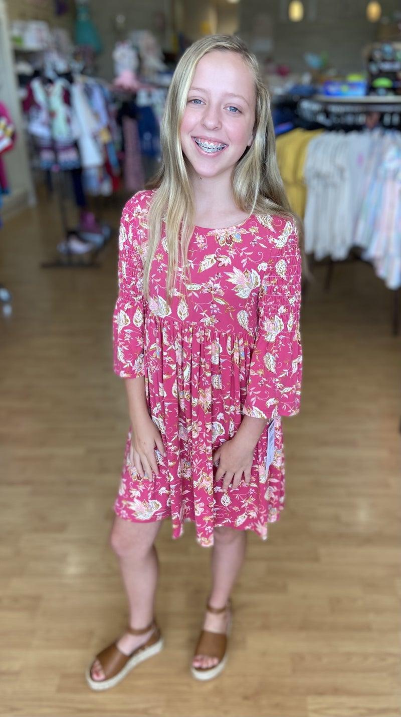Bonnie Jean Rose Floral Bell Sleeve Dress