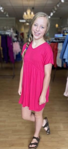 Tween Hot Pink Short Sleeve Baby Doll Dress