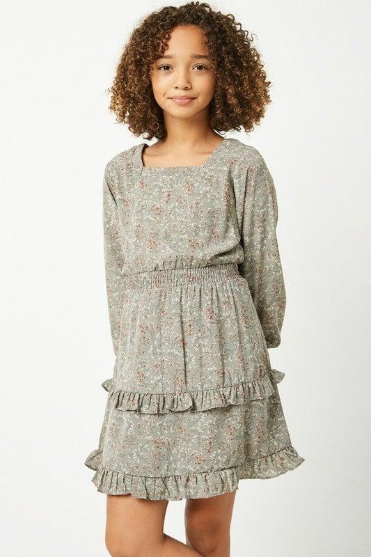 Hayden Sage Floral Long Sleeve Dress
