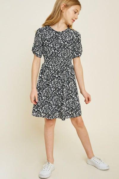 Hayden Black/White Floral Baby Doll Dress
