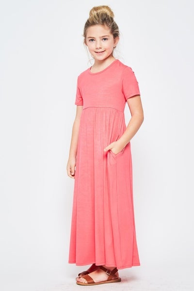 Coral Maxi Dress with Pockets