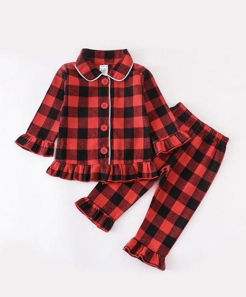 Girls Red/Black Plaid Pajamas