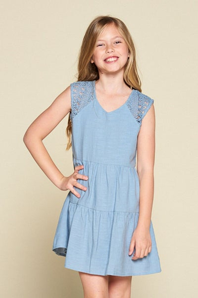 Blue Tiered Dress with Crochet Detail