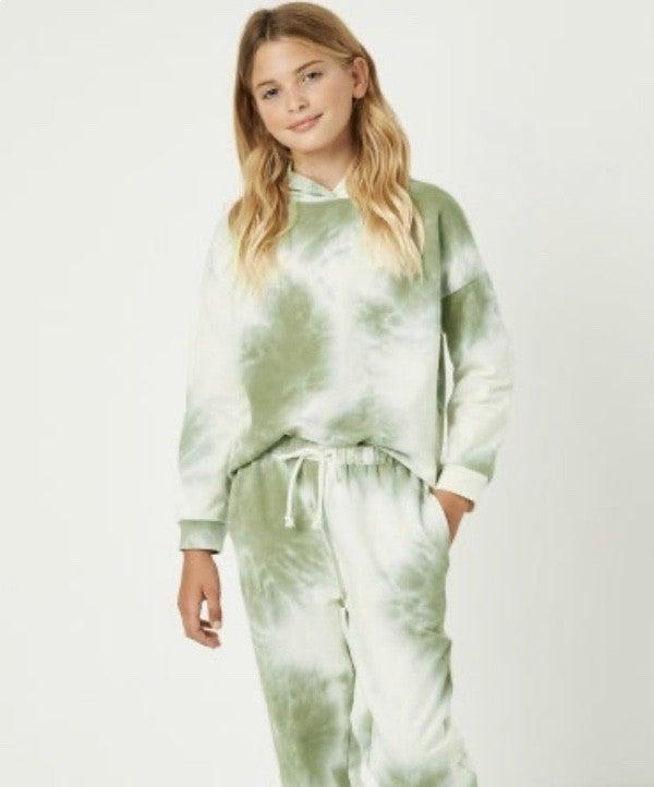Tween Olive Green Tie Dye Hoodie