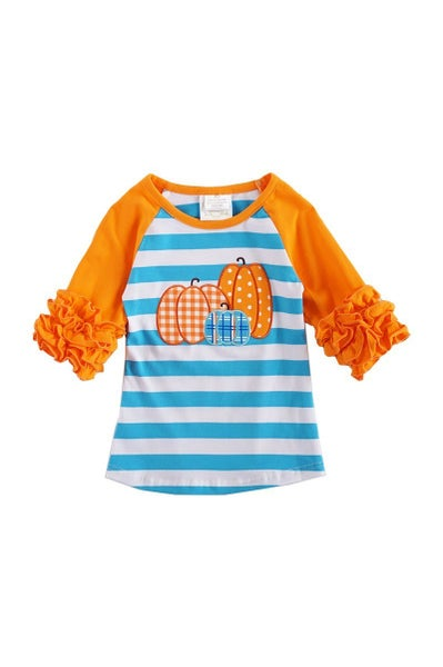 Blue/White Stripe Pumpkin Ruffle Top