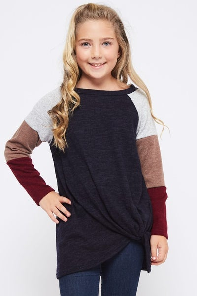 Navy, Grey, Mocha, Burgundy Color Block Top