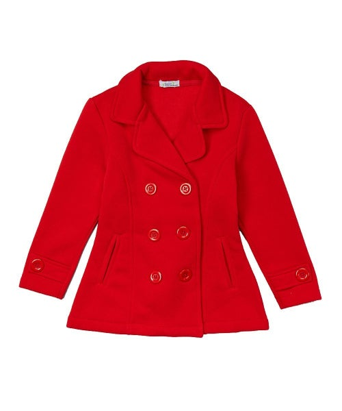 Red Fitted Pea Coat