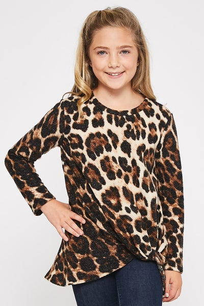 Leopard Knotted Tunic Top