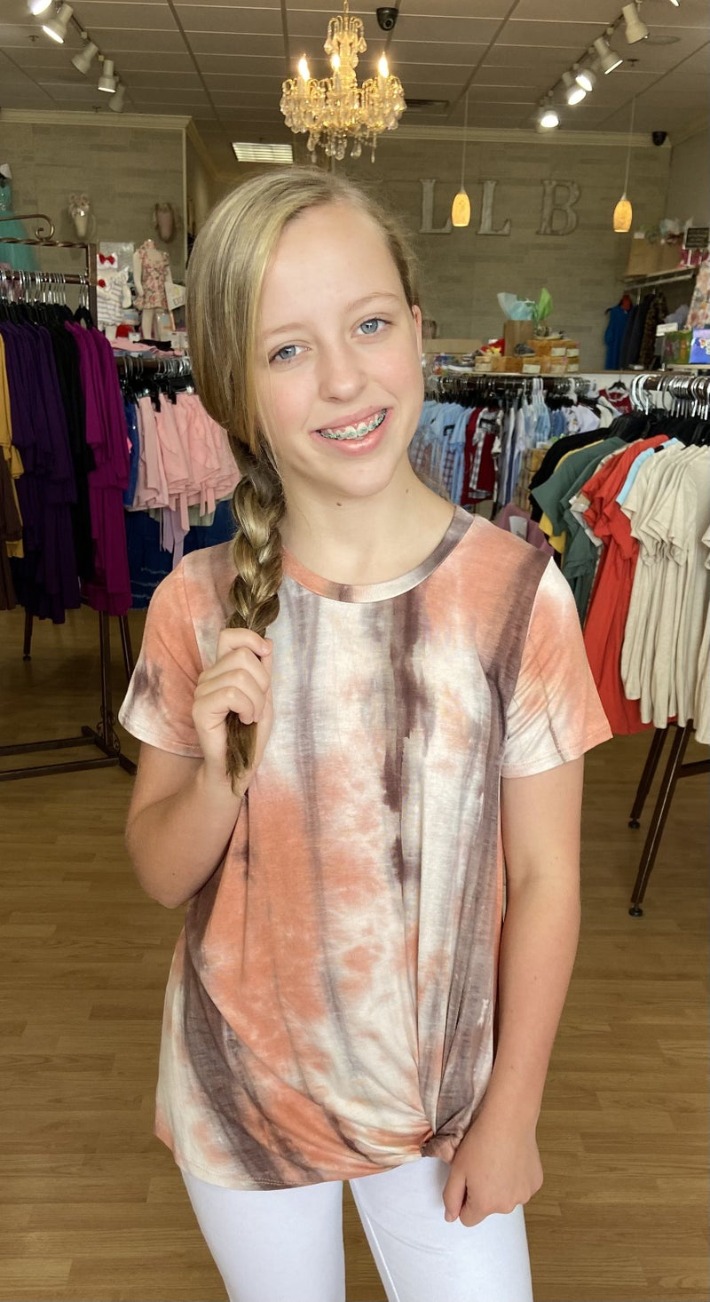 Tween Peach/Brown Tie Dye T Shirt