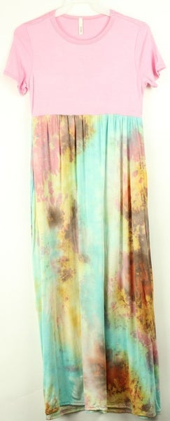 Tween Pink/Aqua Watercolor Maxi Dress