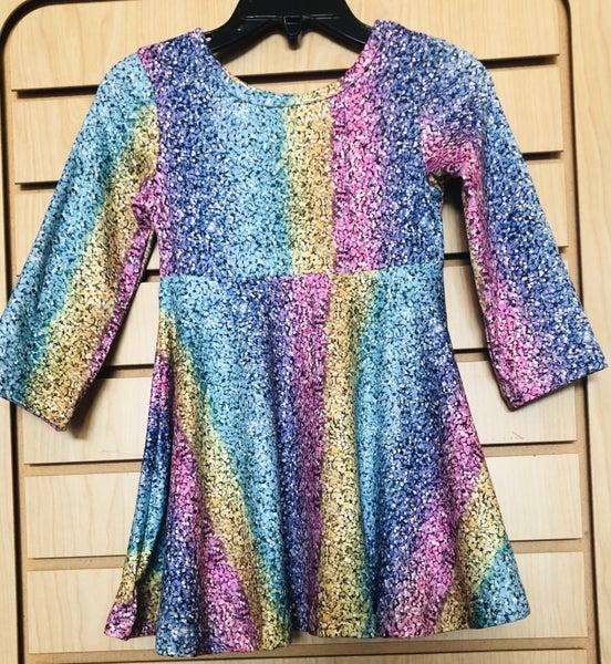 Multi Print Rainbow Flare Dress