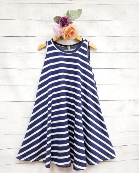 Navy Stripe Sleeveless A Line Dress