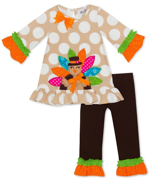 Turkey Applique Top and Leggings Set