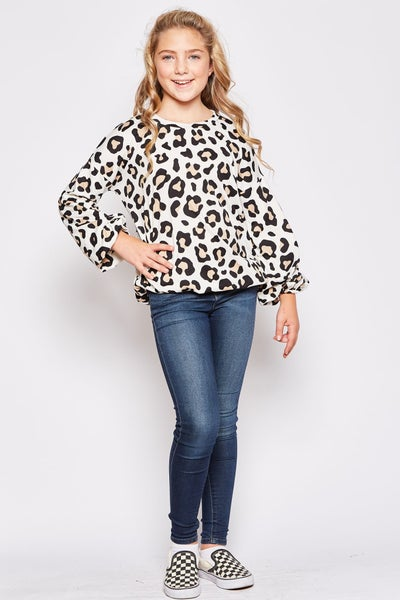 Ivory Cheetah Balloon Sleeve Top