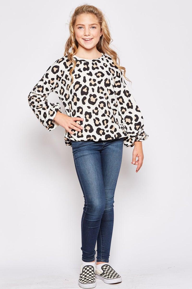Ivory Cheetah Balloon Sleeve Top