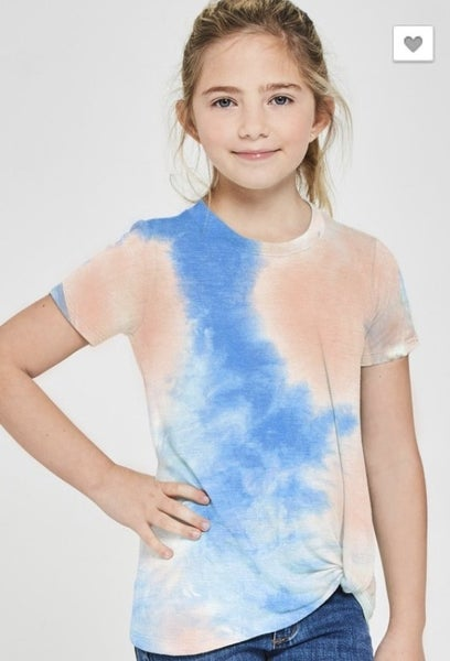 Blue/Pink Tie Dye Side Knot Top