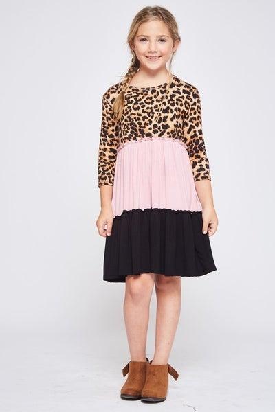Tween Pink Leopard Color Block Dress